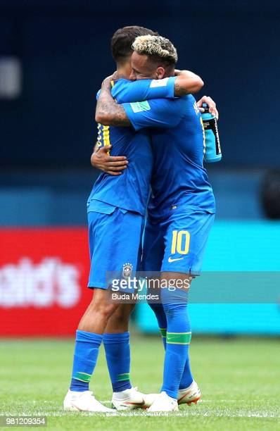 Neymar Jr of Brazil celebrates victory with Philippe Coutinho during the 2018 FIFA World Cup Russia group E match between Brazil and Costa Rica at...
