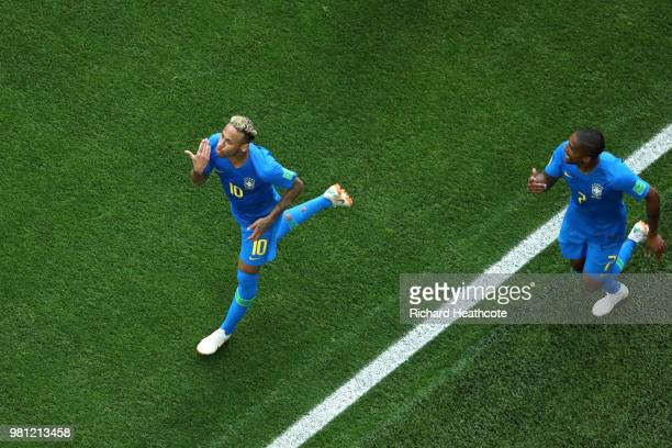 Neymar Jr of Brazil celebrates with teammate Douglas Costa after scoring his team's second goal during the 2018 FIFA World Cup Russia group E match...