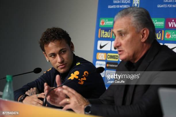 Neymar Jr of Brazil coach of Brazil Adenor Leonardo Bacchi aka Tite answer to the media during a press conference following the international...