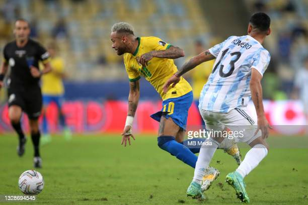 Neymar Jr of Brazil competes for the ball with Cristian Romero of Argentina ,during the Final Match of Copa America Brazil 2021 between Brazil and...