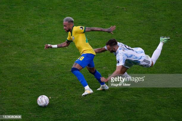 Neymar Jr. Of Brazil controls the ball against German Pezzella of Argentina during the final of Copa America Brazil 2021 between Brazil and Argentina...