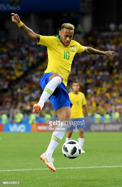 Neymar Jr of Brazil controls the ball during the 2018 FIFA World Cup Russia group E match between Serbia and Brazil at Spartak Stadium on June 27...