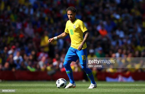 Neymar Jr of Brazil controls the ball during the International Friendly match between Croatia and Brazil at Anfield on June 3 2018 in Liverpool...