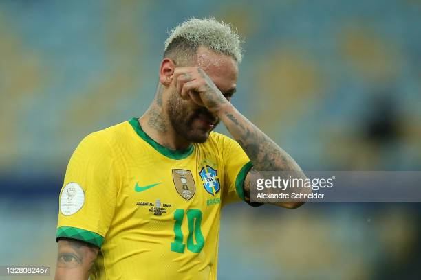 Neymar Jr. Of Brazil cries after the final of Copa America Brazil 2021 between Brazil and Argentina at Maracana Stadium on July 10, 2021 in Rio de...
