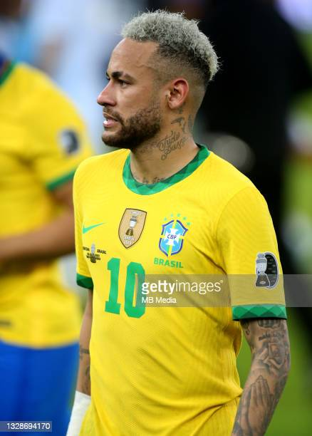 Neymar Jr of Brazil disappointed for the defeat ,during the Final Match of Copa America Brazil 2021 between Brazil and Argentina at Maracana Stadium...