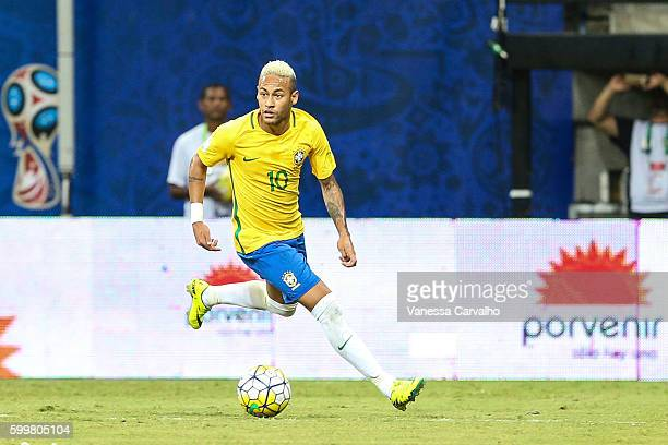Neymar Jr of Brazil drives the ball during a match between Brazil and Colombia as part of FIFA 2018 World Cup Qualifiers at Arena Amazonia Stadium on...