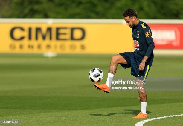Neymar Jr of Brazil during a Brazil Training Session at Tottenham Hotspur Training Centre on May 28 2018 in Enfield England