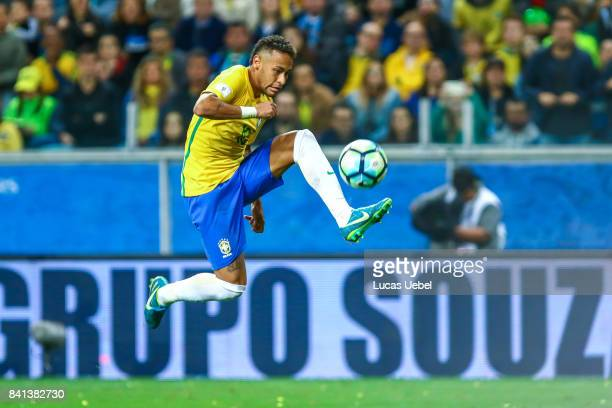 Neymar Jr of Brazil during the match Brazil v Equador 2018 FIFA World Cup Russia Qualifier at Arena do Gremio on August 31 in Porto Alegre Brazil