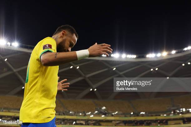 Neymar Jr. Of Brazil enters the pitch prior to a match between Brazil and Uruguay as part of South American Qualifiers for Qatar 2022 at Arena...