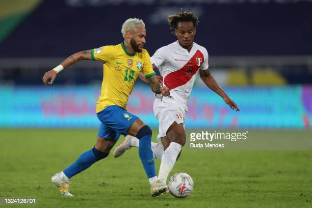 Neymar Jr. Of Brazil fights for the ball with André Carrillo of Peru during a match between Brazil and Peru as part of Group B of Copa America Brazil...