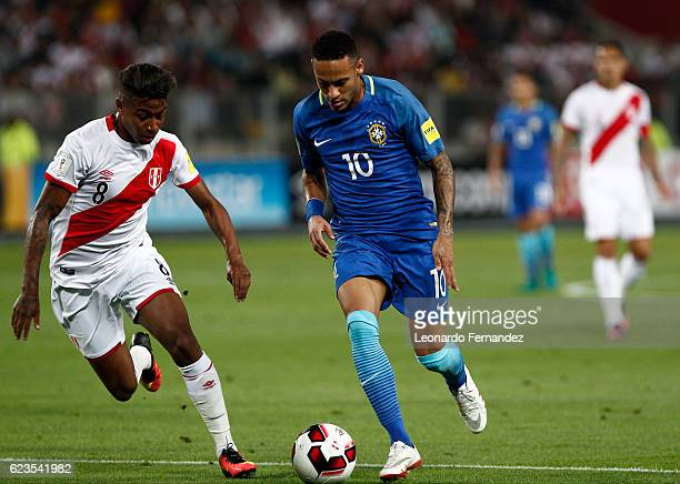 Neymar Jr of Brazil fights for the ball with Andy Polo of Peru during a match between Peru and Brazil as part of FIFA 2018 World Cup Qualifiers at...