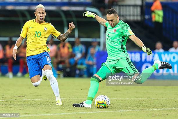 Neymar Jr of Brazil fights for the ball with David Ospina of Colombia during a match between Brazil and Colombia as part of FIFA 2018 World Cup...