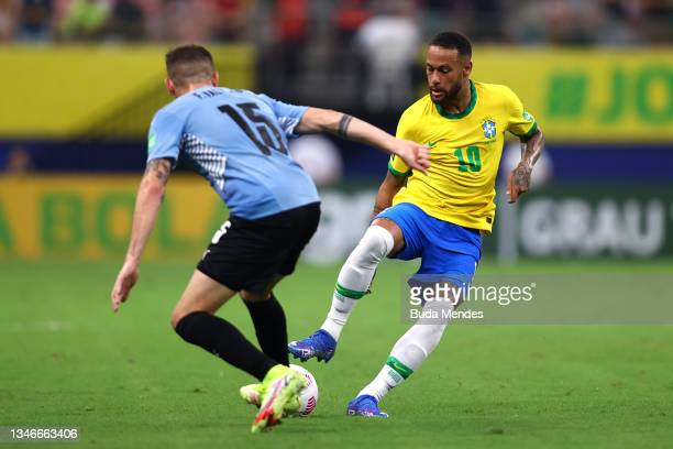 Neymar Jr. Of Brazil fights for the ball with Federico Valverde of Uruguay during a match between Brazil and Uruguay as part of South American...