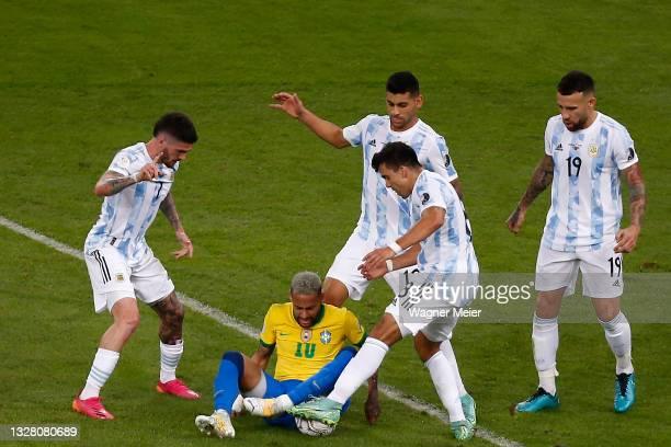 Neymar Jr. Of Brazil fights for the ball with from the ground against Rodrigo De Paul , Cristian Romero , Marcos Acuña and Nicolas Otamendi of...