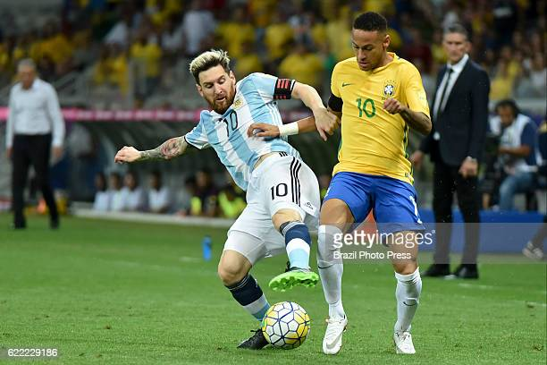 Neymar Jr of Brazil fights for the ball with Lionel Messi of Argentina during a match between Argentina and Brazil as part of FIFA 2018 World Cup...