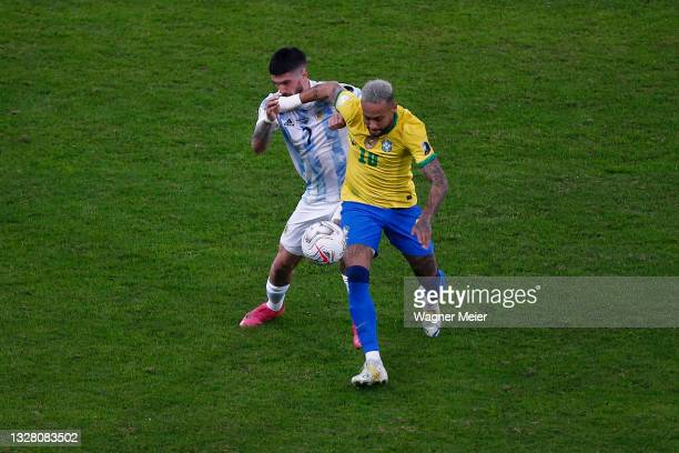 Neymar Jr. Of Brazil fights for the ball with Rodrigo De Paul of Argentina during the final of Copa America Brazil 2021 between Brazil and Argentina...