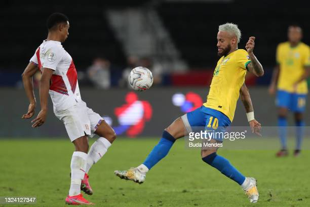 Neymar Jr. Of Brazil fights for the ball with Yoshimar Yotún of Peru during a match between Brazil and Peru as part of Group B of Copa America Brazil...