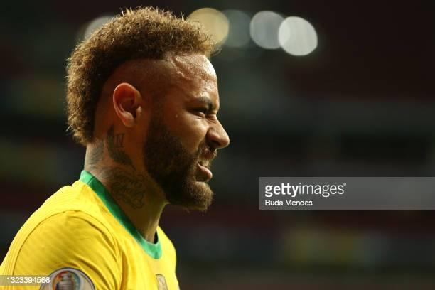 Neymar Jr. Of Brazil gestures during a Group B match between Brazil and Venezuela as part of Copa America 2021 at Mane Garrincha Stadium on June 13,...