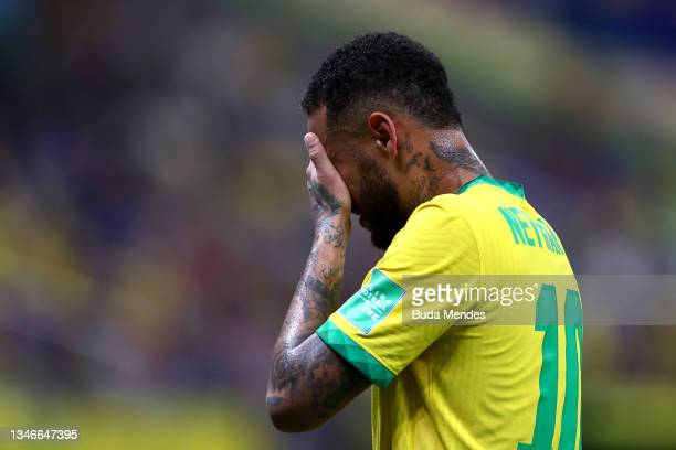 Neymar Jr. Of Brazil gestures during a match between Brazil and Uruguay as part of South American Qualifiers for Qatar 2022 at Arena Amazonia on...