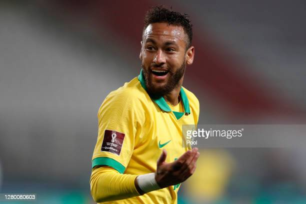 Neymar Jr. Of Brazil gestures during a match between Peru and Brazil as part of South American Qualifiers for Qatar 2022 at Estadio Nacional de Lima...