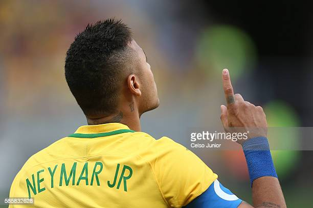 Neymar Jr of Brazil gestures during action against Southy Africa at Mane Garrincha Stadium on August 4 2016 in Brasilia Brazil