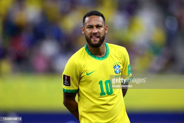 Neymar Jr. Of Brazil gestures prior to a match between Brazil and Uruguay as part of South American Qualifiers for Qatar 2022 at Arena Amazonia on...