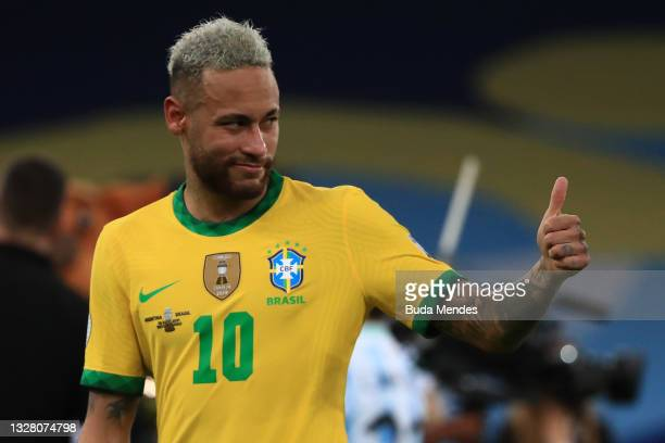 Neymar Jr. Of Brazil gives a thumb up as he reacts after losing the the final of Copa America Brazil 2021 between Brazil and Argentina at Maracana...