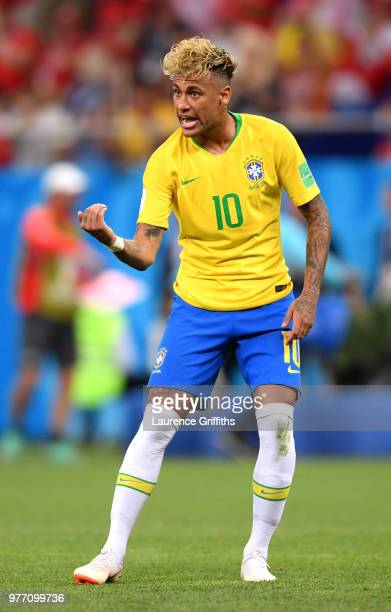 Neymar Jr of Brazil gives his team instructions during the 2018 FIFA World Cup Russia group E match between Brazil and Switzerland at Rostov Arena on...