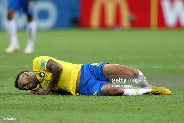 Neymar Jr of Brazil goes down injured during the 2018 FIFA World Cup Russia Quarter Final match between Brazil and Belgium at Kazan Arena on July 6...