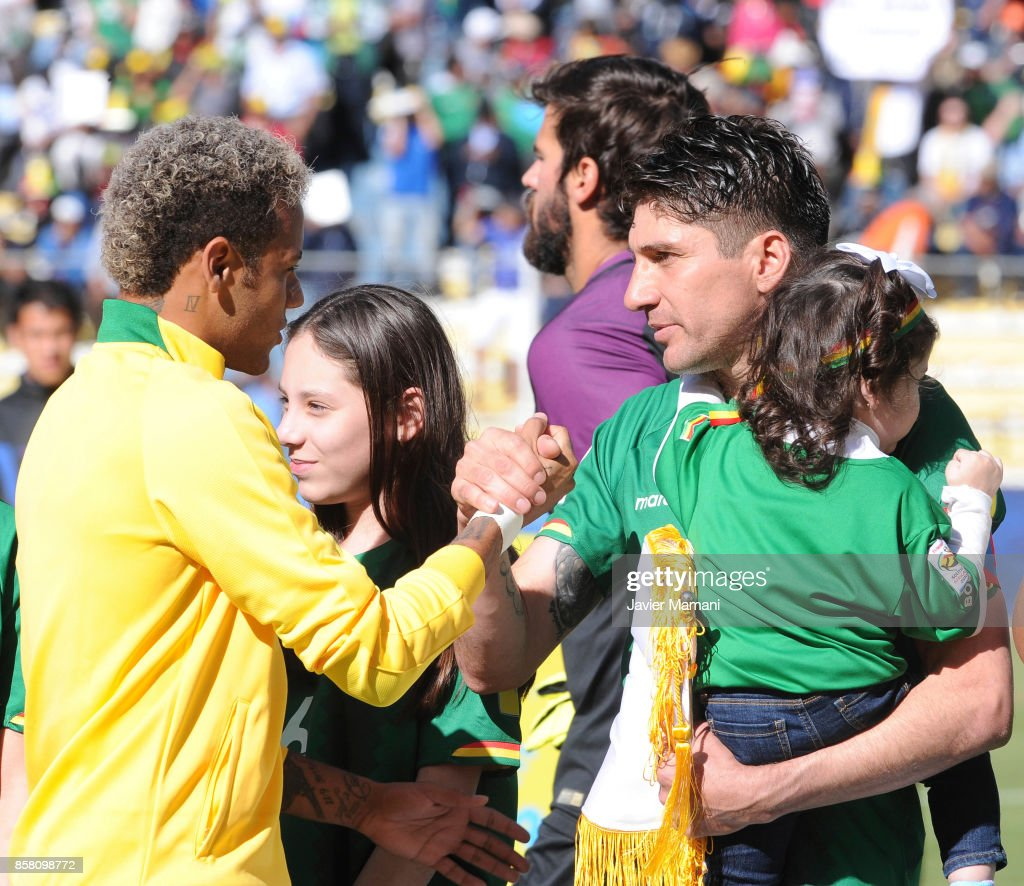 Neymar Jr. of Brazil greets Ronald Raldes of Bolivia prior to a match between Bolivia and Brazil as part of FIFA 2018 World Cup Qualifiers at Hernando Siles Stadium on October 05, 2017 in La Paz, Bolivia.