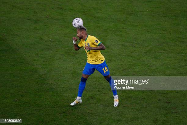 Neymar Jr. Of Brazil heads the ball during the final of Copa America Brazil 2021 between Brazil and Argentina at Maracana Stadium on July 10, 2021 in...
