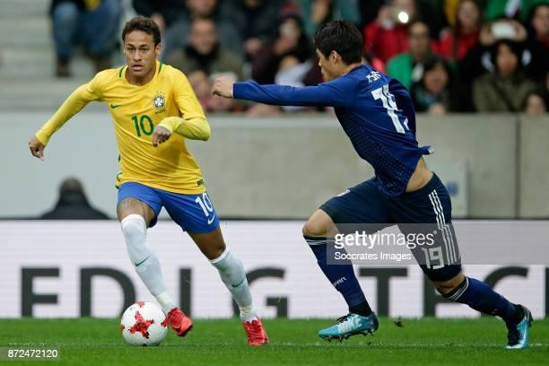 Neymar Jr of Brazil Hiroki Sakai of Japan during the International Friendly match between Japan v Brazil at the Stade Pierre Mauroy on November 10...
