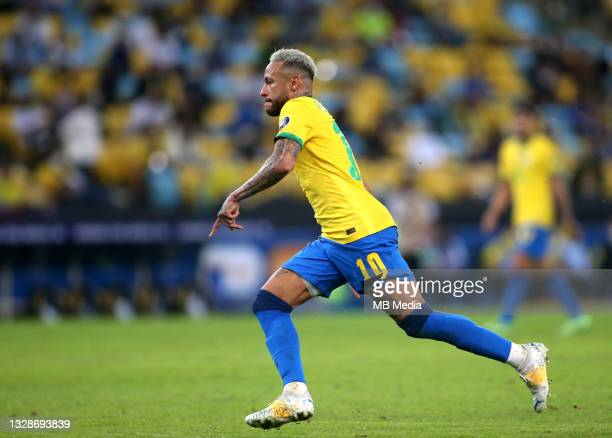 Neymar JR of Brazil in action ,during the Final Match between Brazil and Argentina at Maracana Stadium on July 10, 2021 in Rio de Janeiro, Brazil.
