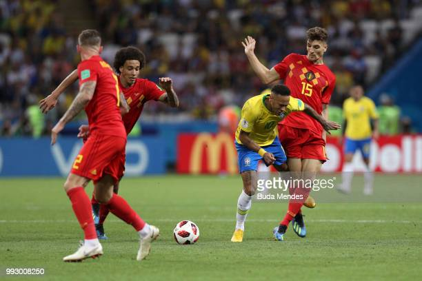 Neymar Jr of Brazil is challenged by Thomas Meunier of Belgium during the 2018 FIFA World Cup Russia Quarter Final match between Brazil and Belgium...