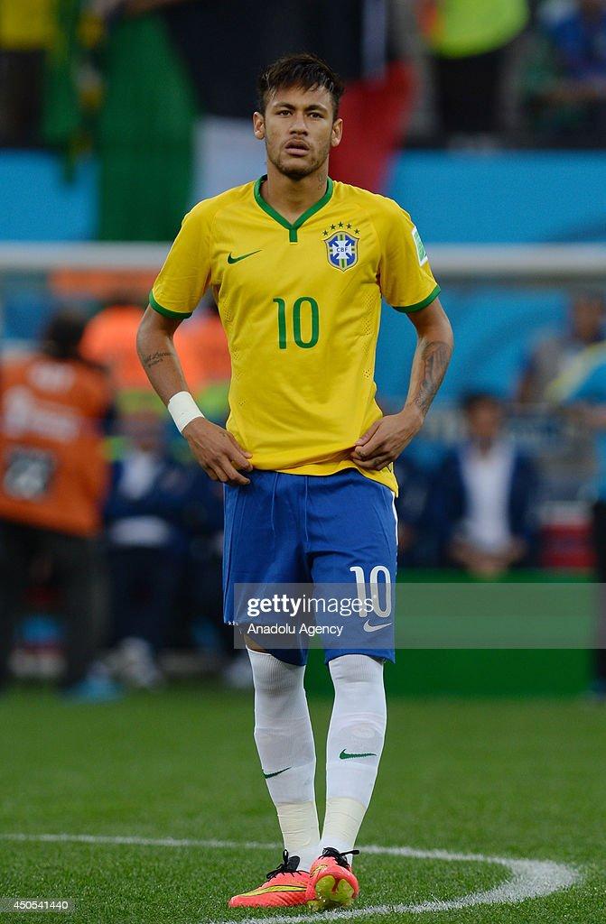 Neymar Jr. of Brazil is seen during the 2014 FIFA World ... Neymar Jr Brazil 2014