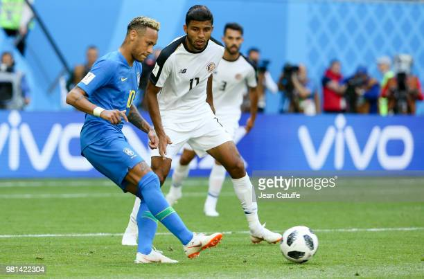 Neymar Jr of Brazil Johan Venegas of Costa Rica during the 2018 FIFA World Cup Russia group E match between Brazil and Costa Rica at Saint Petersburg...