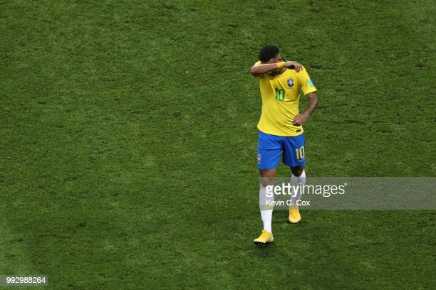 Neymar Jr of Brazil leaves the pitch dejected at half time during the 2018 FIFA World Cup Russia Quarter Final match between Brazil and Belgium at...