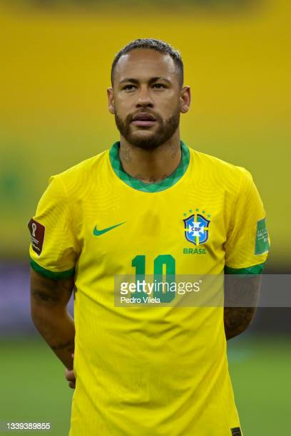 Neymar Jr. Of Brazil lines up prior to a match between Brazil and Peru as part of South American Qualifiers for Qatar 2022 at Arena Pernambuco on...