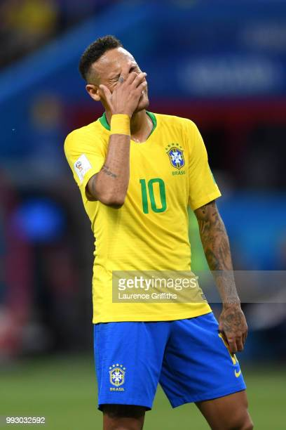 Neymar Jr of Brazil looks dejected during the 2018 FIFA World Cup Russia Quarter Final match between Brazil and Belgium at Kazan Arena on July 6 2018...