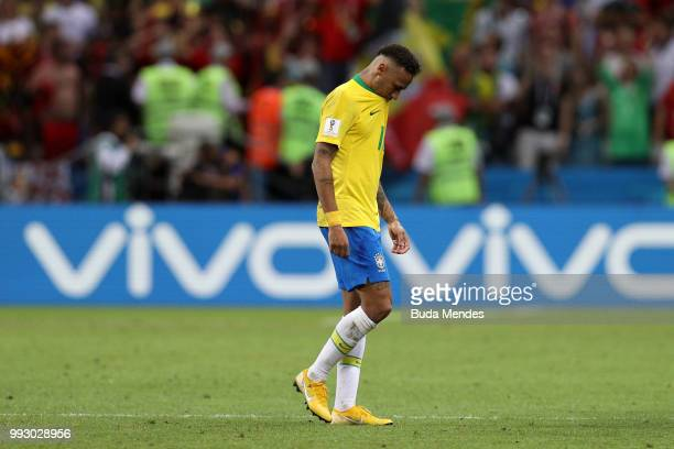 Neymar Jr of Brazil looks dejected following his sides defeat in the 2018 FIFA World Cup Russia Quarter Final match between Brazil and Belgium at...