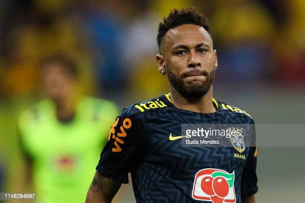 Neymar Jr of Brazil looks on before the International Friendly Match between Brazil and Qatar at Mane Garrincha Stadium on June 5 2019 in Brasilia...