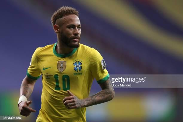 Neymar Jr. Of Brazil looks on during a Group B match between Brazil and Venezuela as part of Copa America 2021 at Mane Garrincha Stadium on June 13,...