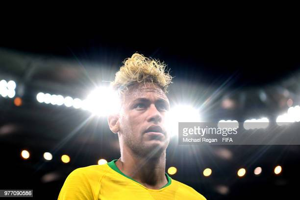 Neymar Jr of Brazil looks on during the 2018 FIFA World Cup Russia group E match between Brazil and Switzerland at Rostov Arena on June 17 2018 in...