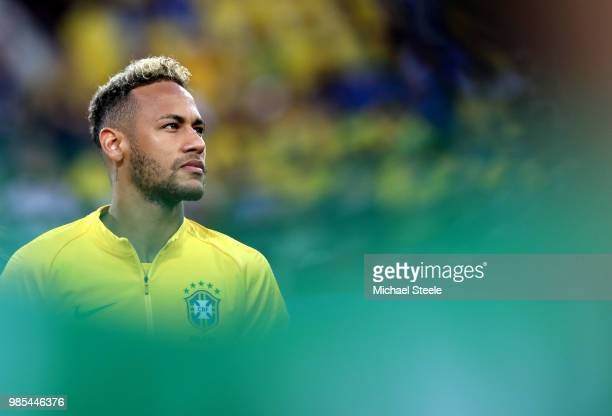 Neymar Jr of Brazil looks on during the 2018 FIFA World Cup Russia group E match between Serbia and Brazil at Spartak Stadium on June 27 2018 in...