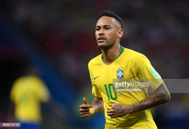 Neymar Jr of Brazil looks on during the 2018 FIFA World Cup Russia Quarter Final match between Brazil and Belgium at Kazan Arena on July 6 2018 in...