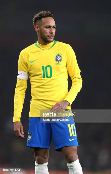 Neymar Jr of Brazil looks on during the friendly International soccer match between Brazil and Uruguay match at the Emirates Stadium on November 16,...