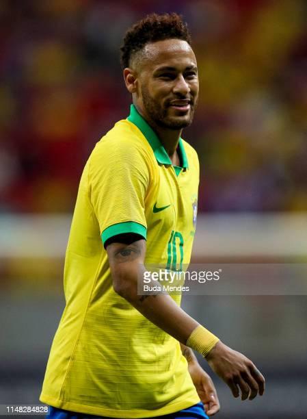 Neymar Jr of Brazil looks on during the International Friendly Match between Brazil and Qatar at Mane Garrincha Stadium on June 5 2019 in Brasilia...