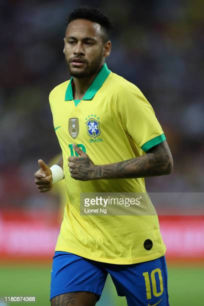 Neymar Jr of Brazil looks on during the international friendly match between Brazil and Nigeria at the Singapore National Stadium on October 13, 2019...