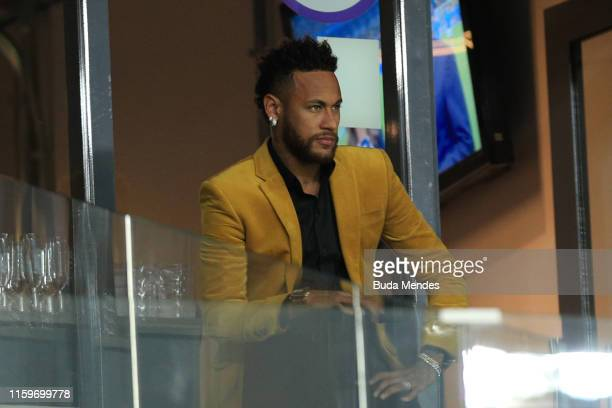 Neymar Jr of Brazil looks on from the stands prior to the Copa America Brazil 2019 Semi Final match between Brazil and Argentina at Mineirao Stadium...