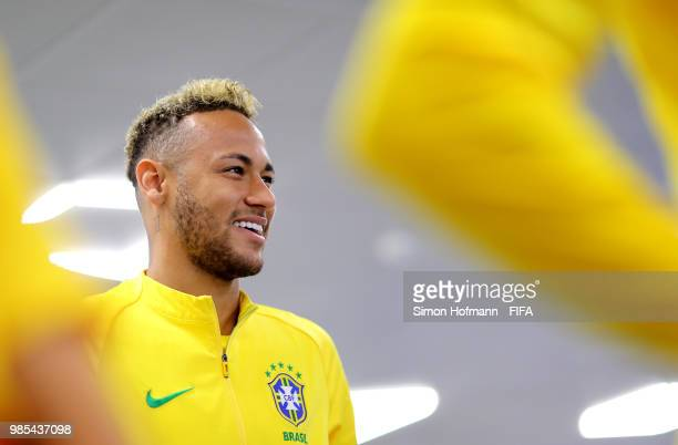 Neymar Jr of Brazil looks on in the tunnel prior to the 2018 FIFA World Cup Russia group E match between Serbia and Brazil at Spartak Stadium on June...